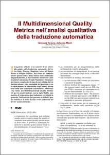 """Monti, Johanna - Nolano, Gennaro Il Multidimensional Quality Metrics nell'analisi qualitativa della traduzione automatica. Rapporto di progetto. Università degli Studi di Napoli """"L"""